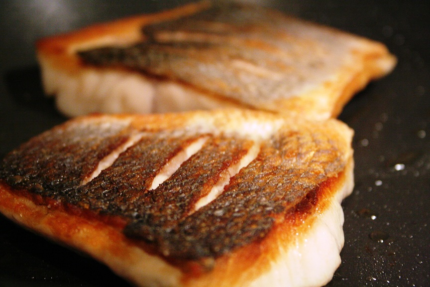 Pan Frying Sea Bass