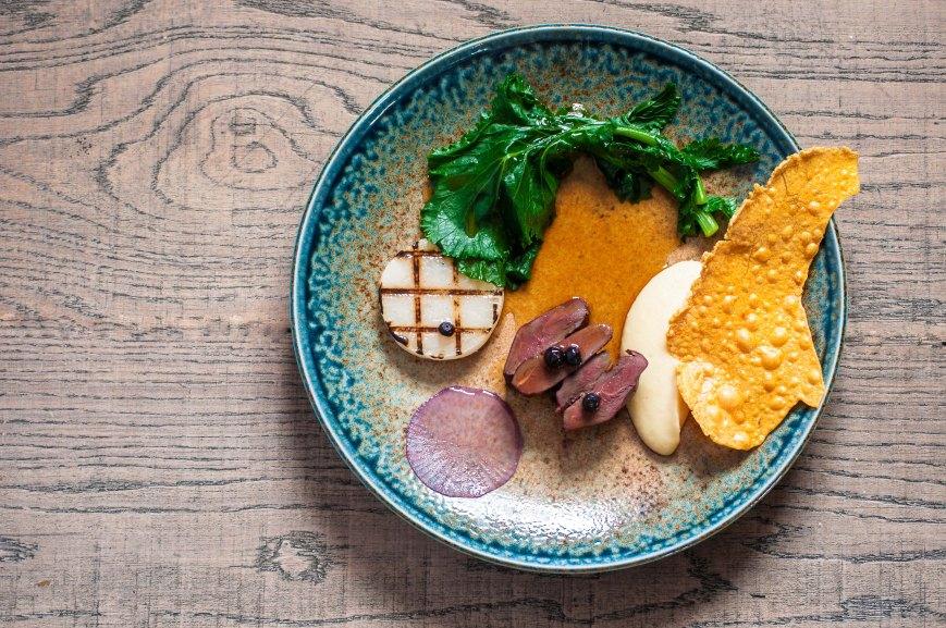 Mallard, Turnips, Potato, Pickled Bilberries