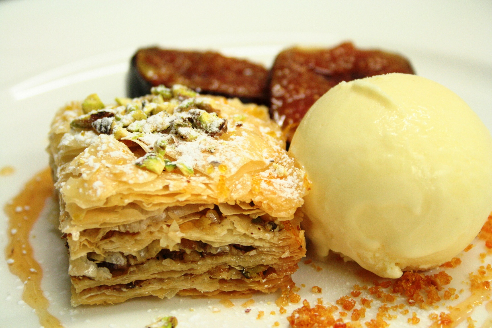 Pistachio Baklava with Cardamom Ice Cream & Honey Roasted Figs | Guy ...