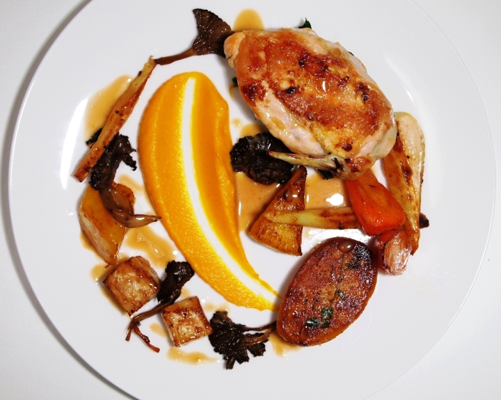 Butter Roast Chicken, Root Vegetables, Fondant Potato, Chanterelles, Squash, Thyme Cream - feeds 4.